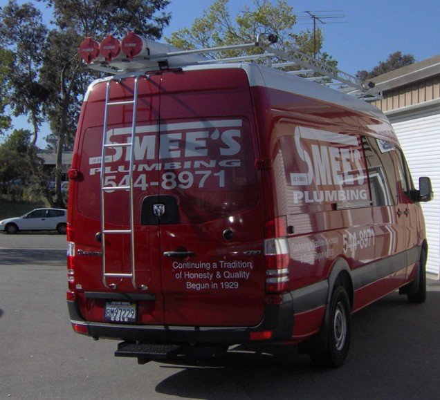 Vehicle Lettering and Window Perf for Smees Plumbing