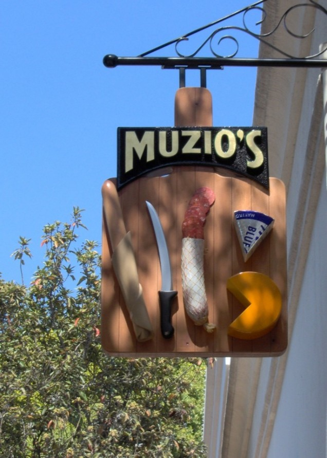 Hanging Sign with Gold Leaf for Muzio's Delicatessen