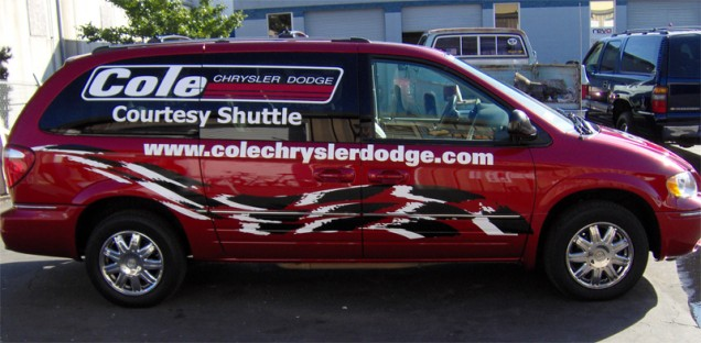 Vehicle Lettering for Cole's Courtesy Shuttle