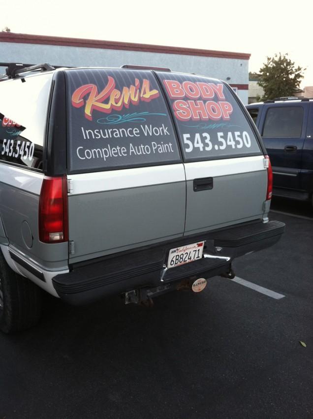 SUV Lettering for Ken's Body Shop