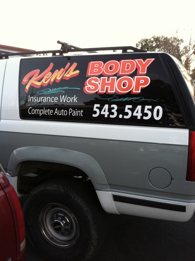 SUV Lettering for Ken's Body Shop