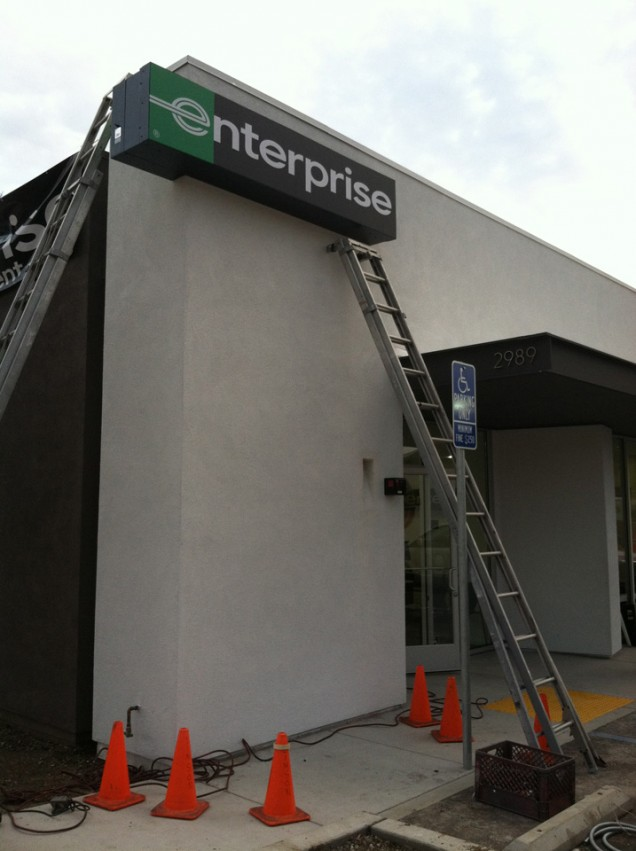 Lighted Building Signage for Enterprise Rent A Car