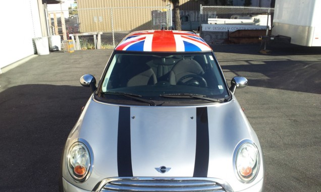 Mini Cooper Racing Stripes and Roof Wrap