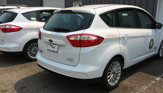 Fleet Vehicle Lettering on Ford C Max for City of SLO