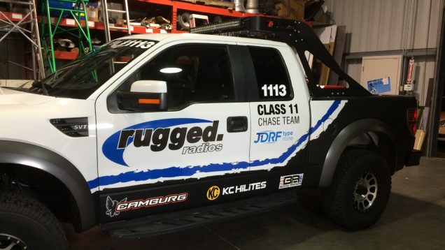 Vehicle Graphics and Lettering for Rugged Radios Ford Raptor Chase Team