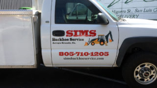 Sims Backhoe Service Vehicle Lettering